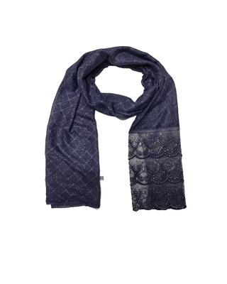 Cotton Checkered Designer Diamond Studed Stole  Blue