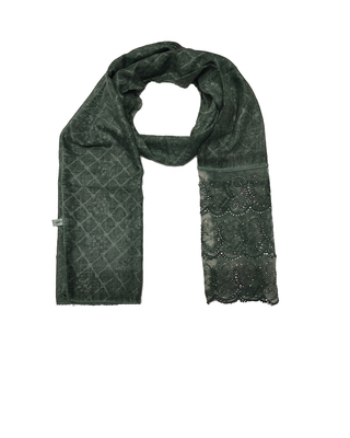 Cotton Checkered Designer Diamond Studed Stole  Dark Green
