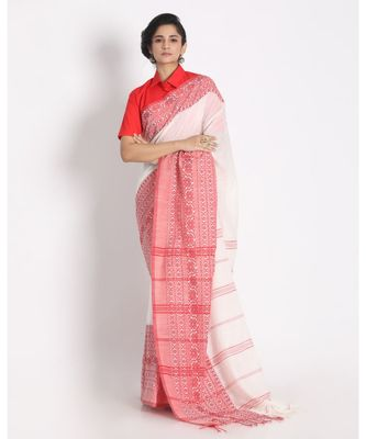 Red Border White Begampuri Organic Khadi Cotton Saree