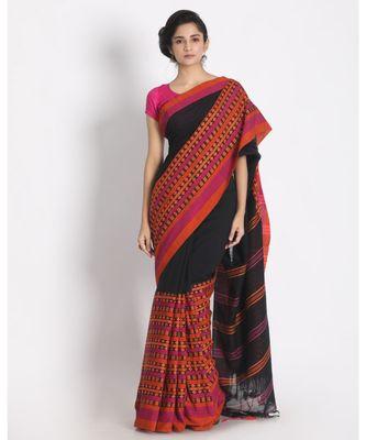 Black Begampuri Organic Khadi Cotton Saree