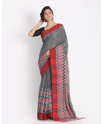 Red Border Grey Begampuri Organic Khadi Cotton Saree