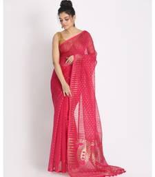 Pink Jecquard Jamdani Saree