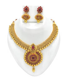 Buy Gold colour Kundhan Stone Necklace Set necklace-set online