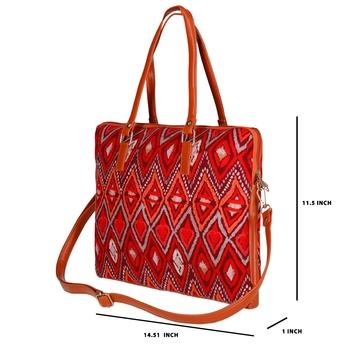 "Shree Shyam Product Kalamkari Print Cotton Printed 15.6"" Screen Size Laptop Bag Red Color"