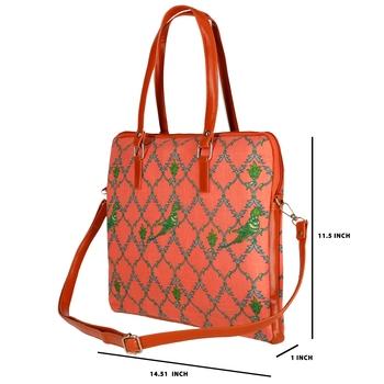 "Shree Shyam Product Designer Print Cotton Printed 15.6"" Screen Size Laptop Bag Peach Color"