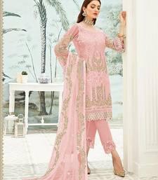 Pink Georgette Straight Embroidered Women Round Neck kurta Pant Dupatta