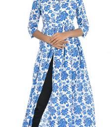 Blue Saganeri Hand Block Print Pure Cotton Kurti