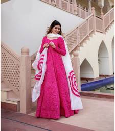 Pigment and foil work Gown with Dupatta