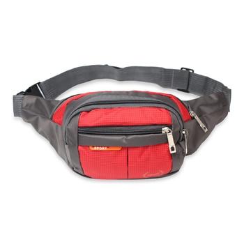 NFI essentials Waist Pack Travel Handy Hiking Zip Pouch Document Money Phone Belt Sport Bag Bum Bag Men and Women (Red)