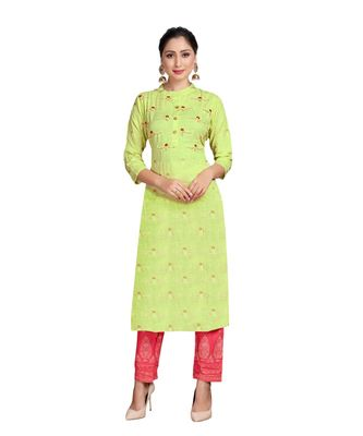 Green Color Rayon Embroidered Festival Wear Straight kurta With Palzzo Set