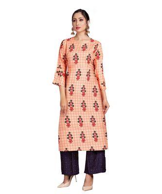 Orange Color Rayon Printed Festival Wear Straight kurta With Palzzo Set