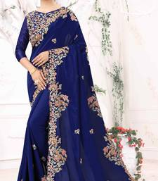 Blue Embroidered Bollywood Designer Silk Saree With Blouse