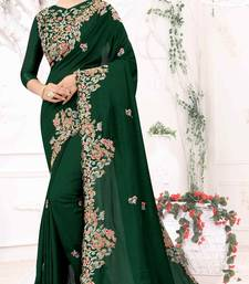 Green Embroidered Bollywood Designer Silk Saree With Blouse