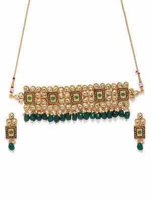 Wedding Wear 18 K Gold Plated Kundan Pearl Meenakari Choker Necklace Jewellery Set for Women/Girls