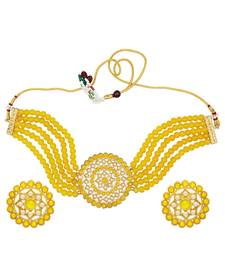 Pearl Beaded Gold-toned Choker/collar Necklace Set for Women & Girls
