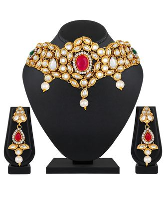 Kundan Pearl Studded Gold toned collar Necklace for women