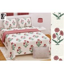 king size  cotton katha print hand work double  bed sheet with pillow cover