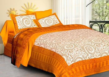 RIDAN YELLOW COTTON  PRINTED DOUBLE BED SHEET WIT PILLOW COVER
