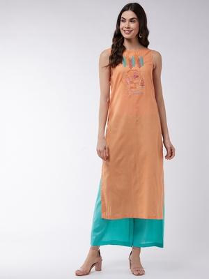 Orange printed cotton kurta srt