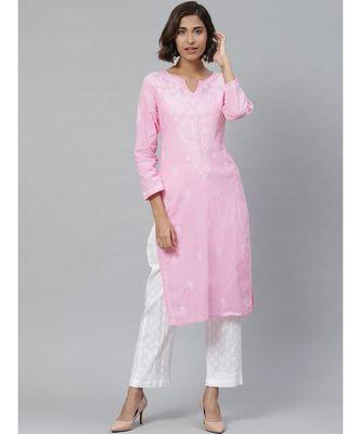 Ada Women's Hand Embroidered Straight Baby Pink Cotton Lucknow Chikankari Kurti