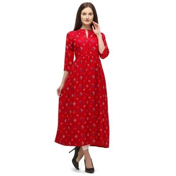 Women Printed Rayon A-line Kurta  (Red)