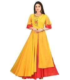 yellow cotton malmal short sleeves solid women gown