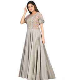 grey cotton malmal short sleeves solid women gown
