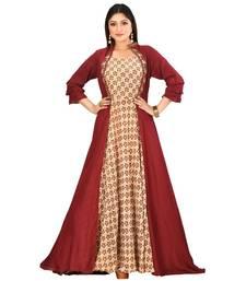 mahroon muslin silk short sleeves solid women gown