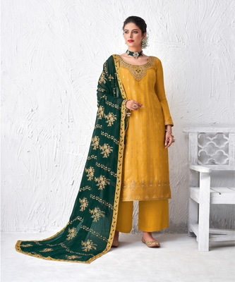 Yellow and green Embroidered Plazzo Suit