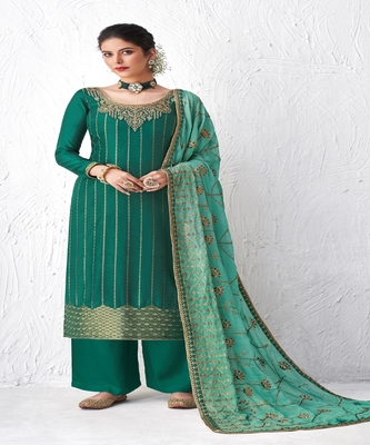Turquoise Embroidered Plazzo Suit