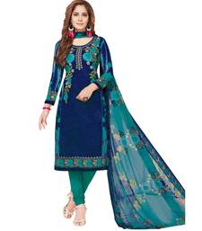Women's  Blue & Turquoise Synthetic Printed Unstitch Dress Material with Dupatta