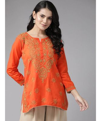 Ada Hand Embroidered Orange Cotton Lucknowi Chikan Short Kurti  For Women