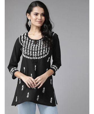 Ada Hand Embroidered Black Cotton Lucknow Chikan Short Kurti For Women