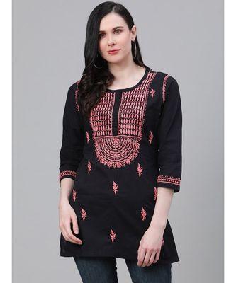 Ada Women's Hand Embroidered Black Cotton Lucknow Chikankari Short Kurti