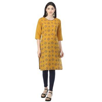 Mustard printed cotton kurtis