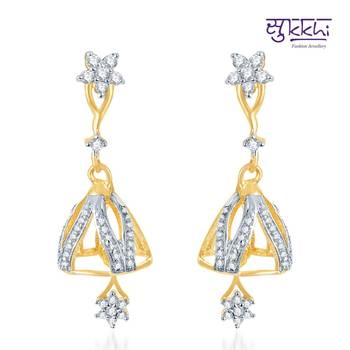 Sukkhi Indian Wedding Gold and Rhodium Plated CZ Jhumki(125E1150)