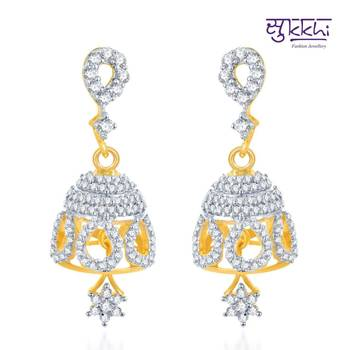Sukkhi Stylish Gold and Rhodium Plated CZ Jhumki(126E2100)