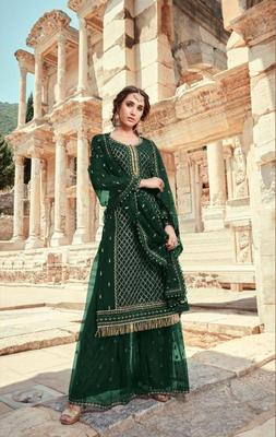 Designer Green Faux Georgette with Embroidery Work sharara Suit