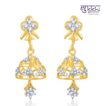 Sukkhi Marvelous Gold and Rhodium Plated CZ Jhumki(128E1000)