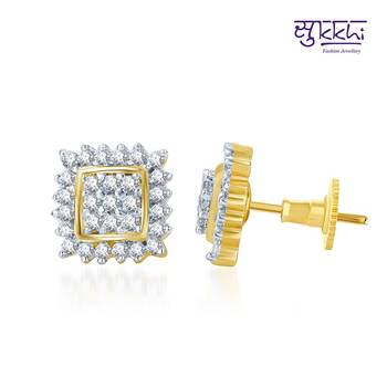 Sukkhi Pleasing Gold and Rhodium Plated CZ Earrings(131E1100)