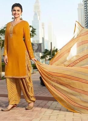Mustard French Crepe Printed Dress Material