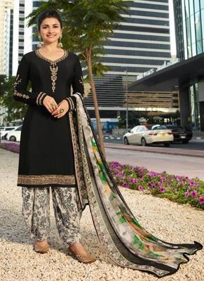 Black French Crepe Printed Dress Material