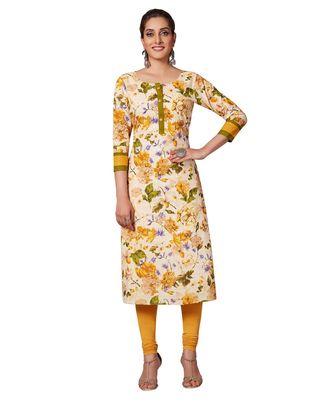 Women's Cream & Gold Cotton Printed Straight Fit Readymade Kurta/Kurti