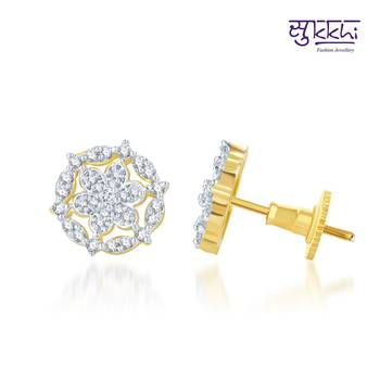 Sukkhi Artistically Crafted Gold and Rhodium Plated CZ Earrings(133E1250)