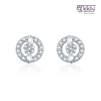 Sukkhi Gleaming Rhodium Plated CZ Earrings(137E540)