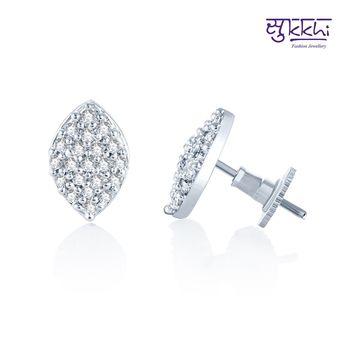 Sukkhi Bewitching Rhodium Plated CZ Earrings(138E610)
