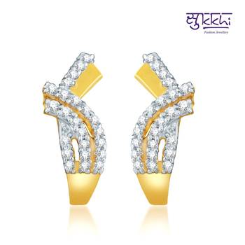Sukkhi Eye-Catchy Gold and Rhodium Plated CZ Earrings(139E500)