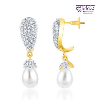 Sukkhi Exquitely Crafted Gold and Rhodium Plated CZ Earrings(149E2200)