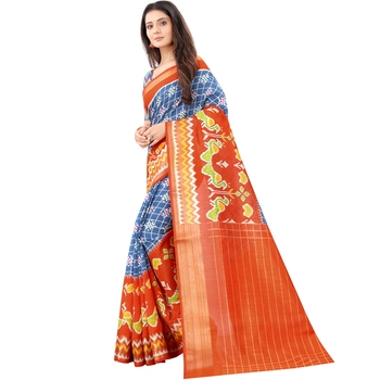 Women's Blue Ikkat Pallu Hand-block Prints Sarees With Blouse