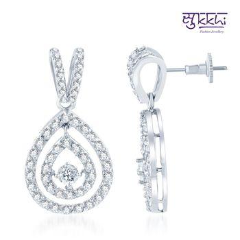 Sukkhi Glittery Rhodium Plated CZ Earrings(150E2150)